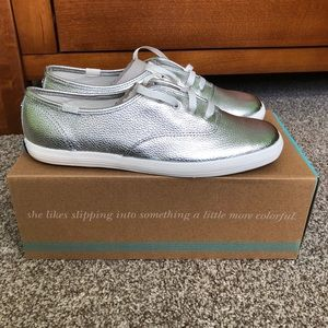 Kate Spade Silver Metallic Leather Keds